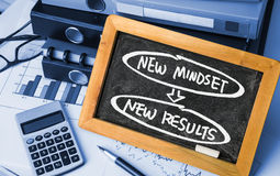 New mindset new results concept. Handwritten on blackboard stock photo