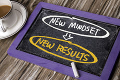 New mindset new results concept. Handwritten on blackboard stock photos