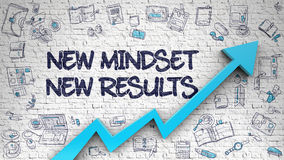 New Mindset New Results Drawn on White Brick Wall. New Mindset New Results - Improvement Concept. Inscription on the White Brick Wall with Doodle Icons Around Royalty Free Stock Images