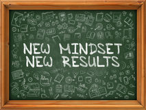 New Mindset New Results - Hand Drawn on Green Chalkboard. New Mindset New Results - Hand Drawn on Chalkboard. New Mindset New Results with Doodle Icons Around Stock Photos