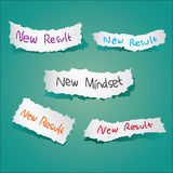 New Mindset New Results. Motivational concept. Vector illustration of torn papers with the words New Mindset New Results written on it Stock Photography