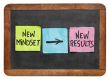 New mindset and results. New mindset and new results concept - colorful sticky notes on a vintage slate blackboard isolated on white stock image