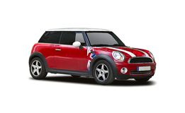 New mini cooper. New red Mini Cooper isolated on white Royalty Free Stock Images