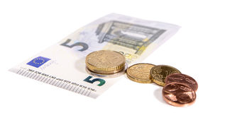New minimum wage in Germany, 8,84 Euro hourly salary. Currency on white background Royalty Free Stock Photography