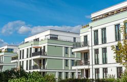 New mint green townhouses. Seen in Berlin, Germany royalty free stock photo