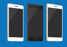 New Mobile Phones in White, Black and Gold Royalty Free Stock Photo
