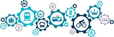 Free New Mobility Icon Concept – Ecological Public Transport Alternatives: Bus, Bike, Car Sharing, Train - Vector Illustration Stock Images - 153835794