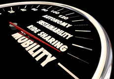 New Mobility Speedometer Autonomous Ride Sharing Car Royalty Free Stock Photography