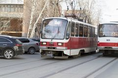 The new model electric tram on the streets. Close-up . Russia. stock photo