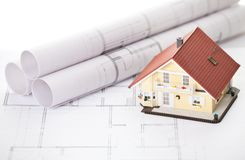 New Model House On Architecture Blueprint Plan Stock Image