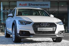 New model of 4WD crossover Audi A4 allroad quattro car. Munich, Germany - May 6, 2016: New contemporary model of 4WD crossover Audi A4 allroad quattro car with stock photography