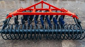 New modern agricultural disc harrow. Tillage equipment Royalty Free Stock Photography