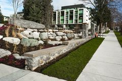 New modern apartment complex. European apartment building complex with outdoor facilities stock photography