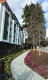 New modern apartment complex. European apartment building complex with outdoor facilities stock photos