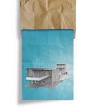 New modern architectural 3d on crumpled paper background Stock Photography