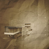 New modern architectural 3d on crumpled paper Stock Photos