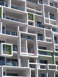 New modern architecture high rise apartment block with squares Stock Image