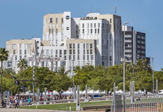 New modern architecture in Port Vell district. BARCELONA, SPAIN - JULY 4, 2016: New modern architecture in Port Vell district stock photos