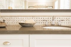 New Modern Bathroom Sink, Faucet, Subway Tiles and Counter Stock Photo