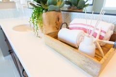 New Modern Bathroom with Tile Backsplash Decorations. Stock Photography