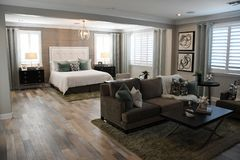 New Modern Bedroom Of A Classic Home In Arizona. New modern desert classic home near Gilbert, Arizona, USA stock photo