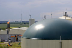 New, modern biogas plant from top Royalty Free Stock Images
