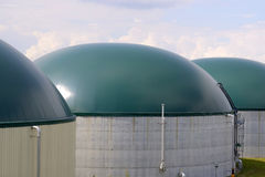 New, modern biogas plants royalty free stock photography