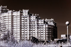 New modern building in Moscow, Russia, infrared view Stock Photography