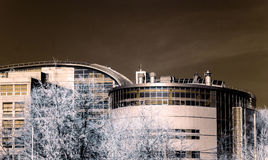 New modern building in Moscow, Russia, infrared view Royalty Free Stock Photography