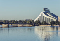 A new modern building of the national library, Riga Stock Photo