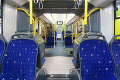 New modern cabin of city transport. With modern blue seats Stock Photo