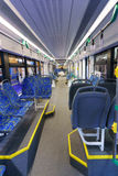 New modern cabin of city transport. With modern blue seats Royalty Free Stock Photos