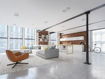 New modern city loft apartment. 3d rendering stock image