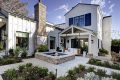 New Modern Classic Home Patio Plaza. New modern desert classic home with backyard patio in Arizona, USA stock image