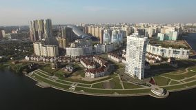 New modern districts of the city of Moscow from above. Contemporary mix architecture old and new Luxury apartments property Russia. Aerial drone shots. Sunny day stock footage