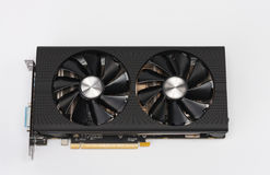 New modern gaming graphics card on white Royalty Free Stock Photos