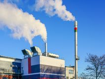 A new modern gas cogeneration heating plant with high thermal energy efficiency. In winter royalty free stock image