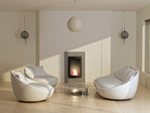 New modern home. New modern living room with sofas, plant, fireplace and sunlight Stock Photo
