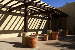 New Modern Home Southwestern Patio. New Modern Adobe Home Southwestern Style Exterior Patio royalty free stock photo