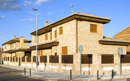 New modern houses. Exterior of new modern houses in urban street Royalty Free Stock Photography