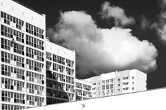 New Modern Housing Apartments in Black and White Stock Images