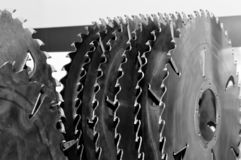 New modern industrial circular saw disks. Toned image royalty free stock photography