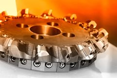 New modern industrial mill. Close up. Red toned royalty free stock images