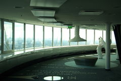 New Modern Interior of Tallinn TV Tower. Tallin TV tower has a brand new interior. New design is futuristic and there is more free spae. White table like Stock Photo