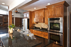 New Modern Kitchen Remodel. Modern home with lovely new custom kitchen cabinets, center island and stainless steel appliances Royalty Free Stock Photography