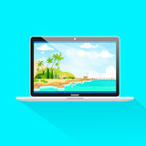 New modern laptop computer front view screen icon Stock Photos