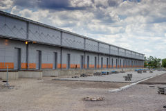 New modern and large warehouse building with warehouse gates Royalty Free Stock Photography