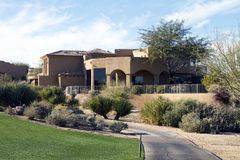 New modern luxury desert golf course home Royalty Free Stock Photo