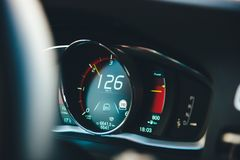 New modern luxury sport car digital dashboard showing driving data speed. New modern luxury sport car digital dashboard showing driving data and current speed as stock photos