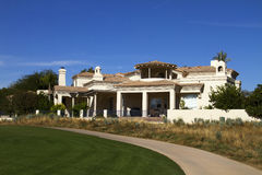 New Modern Mansion Golf Course Home Estate. New private modern golf course mansion home on golf course stock image
